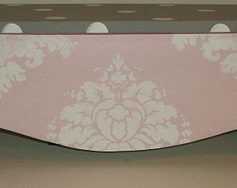 Custom Bookcase  Wall Shelf PINK and Gray NURSERY Shelve Shelfs Damask Grey Kids and Baby