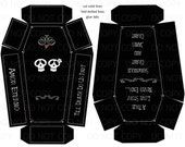 Printable DIY Personalized Coffin Skull Theme Wedding or Halloween Favor Boxes