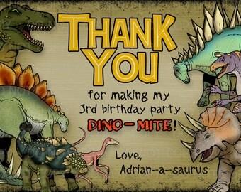 Printable DIY Personalized Dinosaur Theme Thank You Card
