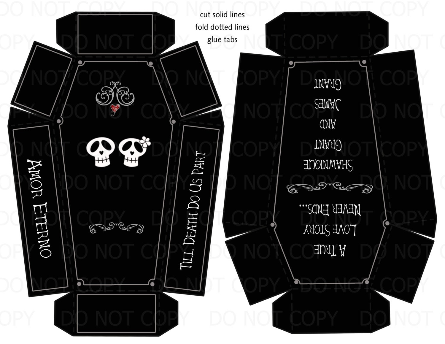 Printable diy personalized coffin skull theme wedding or for Coffin cake template