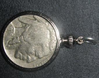 Vintage Antique 1936 Bezel Set Buffalo Nickel Pendant Necklace