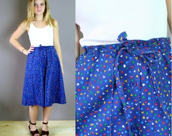 Vinage 1970s Midi A-Line Skirt