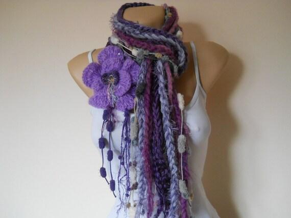 "MULTICOLOR  SCARF  ""CHERYL""  -   Crocheted Detachable Flower -  Elegant, Women, Loop, Romantic, Neckwarmer, Feminine, Muffler, Winter, Warm"