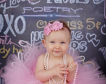 PINK HEARTS tutu.....pink tutu with shabby chic headband....photography prop....size nb-5/6