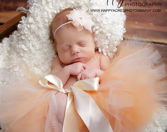 PEACHES AND CREAM tutu with matching headband...newborn tutu....baby tutu.....baby photography prop
