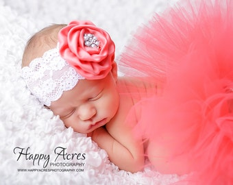 CORAL TUTU....newborn tutu, baby tutu with vintage headband, newborn photography prop.....size nb-24month available