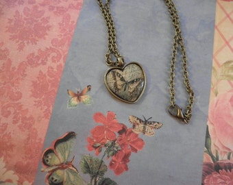 SALE  Butterfly in a Heart Necklace
