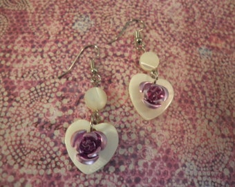 White Shell Heart with Purple Rose Earrings