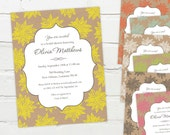 Customizable Wedding, Shower or Party Invitation (Floral Kraft Design - Any Color) - Printable Digital File - Engagement, Bridal, Baby