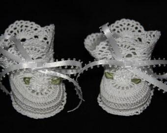 Crochet  white christening baby reborn baby booties