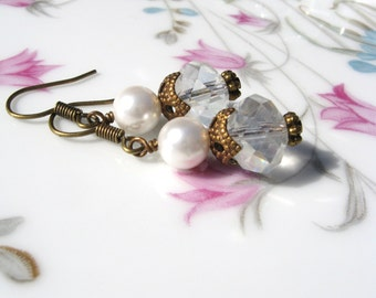 Crystal and Glass Pearl Dangle Earrings