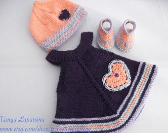 Hand Knit Baby Girl Dress, Hat and Booties Set. Purple Baby Dress/Tunic. Multicolor Baby Girl Set. 6M.