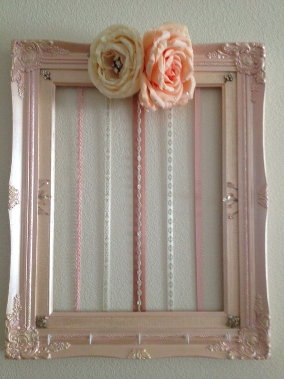 Hair clip bow holder frame wall art by zevivez on etsy for Photo clip wall frame
