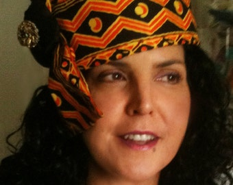 Orange and Black Silk and Cotton Tribal Hat