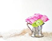 Antique Rustic Silver Creamer, Etched Silver Pitcher, Vintage Cottage Chic Decor Vase