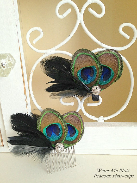 Reserved for Sarah-Peacock and Goose feather hair-clips-Customize with white or black feathers.