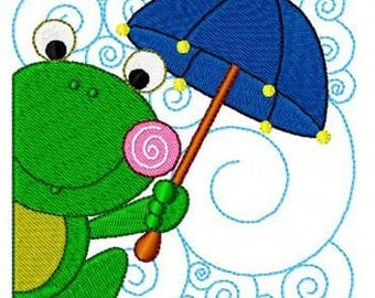set of 12 rainy day frog frogs machine embroidery design