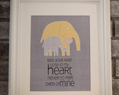 Instant Download: Digital 8x10 nursery print baby mine elephants in yellow and gray