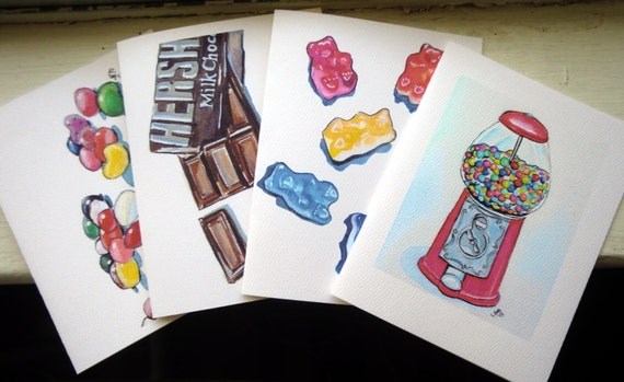 Kids Stationery Card Set - Candy Notecards, Watercolor Art Note Cards, Set of 8