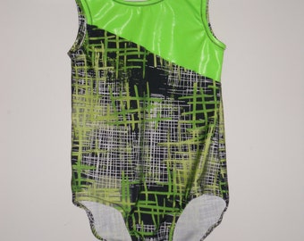 Lime green and black girls leotard