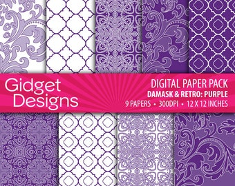 Purple Digital Paper Pack Purple Damasks Purple Quatrefoil Instant Download Printable Purple Scrapbooking