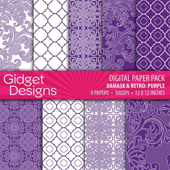 Purple Digital Paper Pack Purple Damasks Purple Quatrefoil Instant Download Printable Purple Scrapbooking
