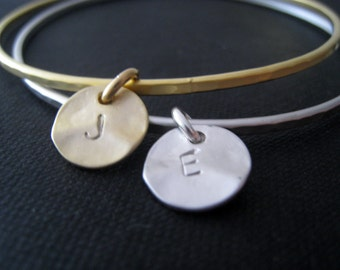 mixed metal initial bangle, set of 2 personalized bracelet, gift for her, two silver and gold initial bangles, stackable, boy girl