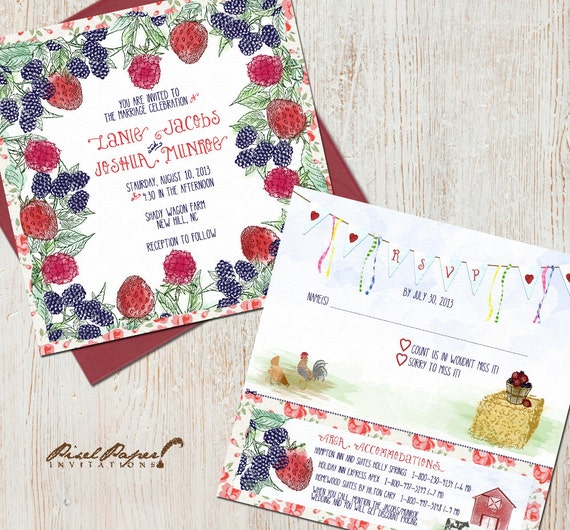 Items Similar To Berry Farm Wedding Invitation Suite On Etsy