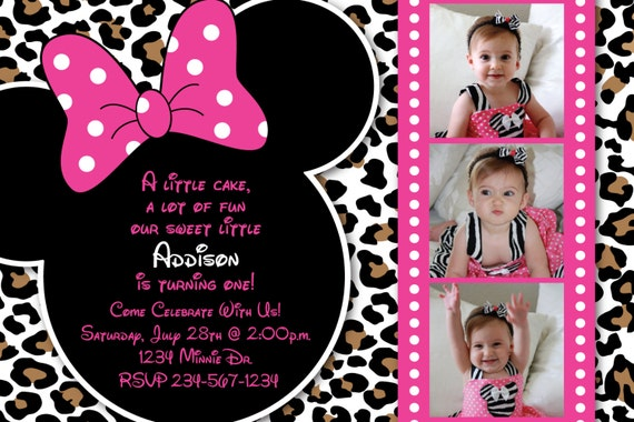Minnie Mouse guepardo o leopardo Print Rosa por HeathersCreations11