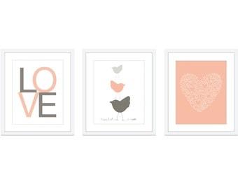 Baby Nursery Print Set - Modern Home Decor - Peach Pastel - Birds Love Heart - Easter - Spring Pastel Colors