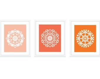 Mandala Art Prints - Set of 3 - Medallion Wall Art - Modern Home Decor - Peach Coral Tangerine Orange