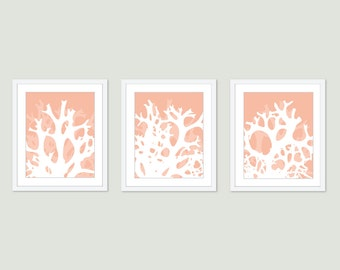 Coral Wall Art Digital Print Set Abstract Modern Home Decor Peach Pastel Sea Life - Beach House - Nautical - Spring Summer
