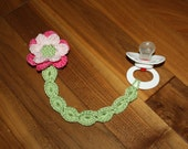 Garden Whimsy Soother or Pacifier Clip or applique pdf PATTERNS, butterfly, ladybug, dragonfly, flower, crochet for baby