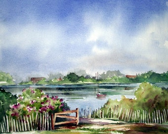 Bayhead Lake with Boat, landscape original watercolor painting study