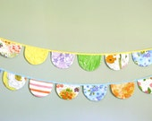 Scallop Flag Garland / Bunting Banner / Vintage Nursery / Baby Girl Nursery / Baby Shower Decoration / Birthday Party / Vintage Sheet Fabric