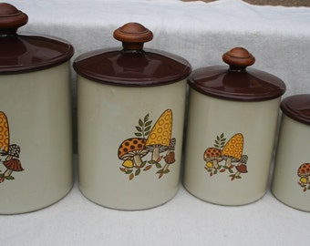 Set of 4 Mushroom Motif Kitchen Canisters by West Bend Beige Orange Yellow Brown Mod DIY with a new paint color