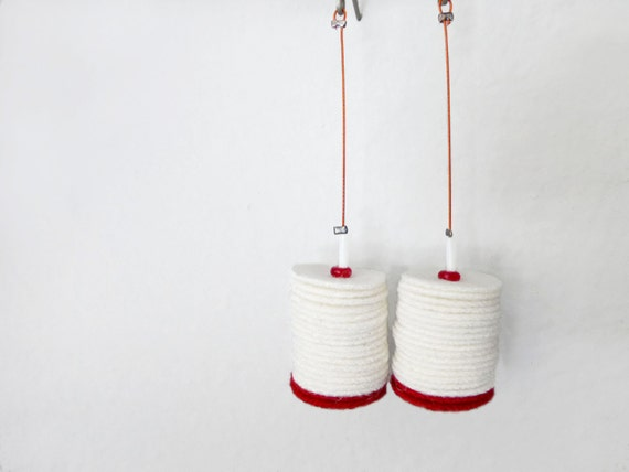 white and red felt tube chunky long minimal earrings - contemporary jewelry