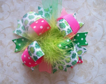 Hair Bow---Funky Fun Over the Top Bow---Preppy St. Patricks Day Princess---Pink and Green Shamrocks