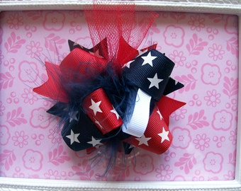Hair Bow---MINI Funky Fun Over the Top Bow----4th of July, Red and Navy