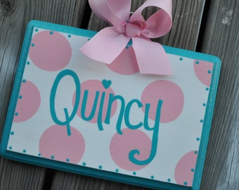 HairBow Holder --- SIMPLICITY Design - Handpainted and Personalized Bow Holder - Personalized Bow Organizer