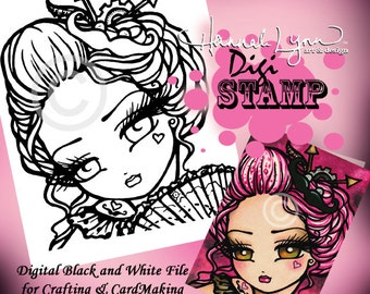 "PRINTABLE Mustache Steampunk Valentine Girl Digi Stamp ""Mimi"" Coloring Page Fun Fantasy Art Hannah Lynn"