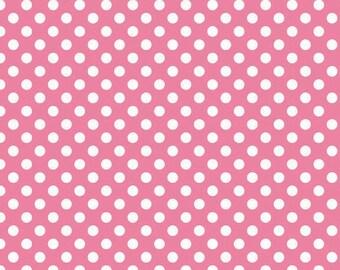 Pink and White Small Polka Dot Cotton For Riley Blake, 1 Yard