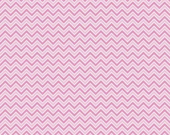 Two Tone Pink and White Chevron Flannel, 1 Yard