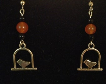 Black and Orange Caged Bird Earrings
