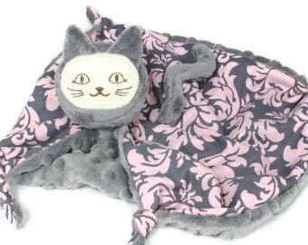 Animal Security Blanket, Child's Blanket, Cat Blanket Doll, Grey Minky and Pink Damask, Lovey for a Baby Girl