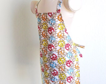 Childrens Apron - Peace and Monkeys....and lots of Color, Fun apron for cooking, baking or creating arts and crafts, or monkey around in