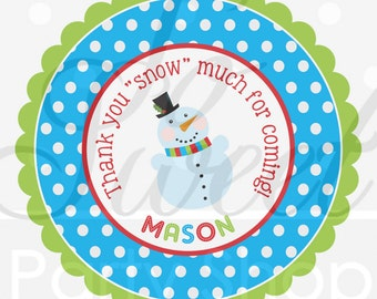 Snowman Birthday Favor Sticker Labels - Winter Onederland Birthday Party Decorations - Christmas Party Stickers - Set of 24
