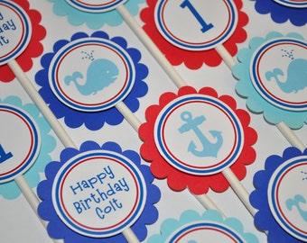 Nautical Birthday Cupcake Toppers - Whale and Anchor Birthday Decorations - Boys 1st Birthday