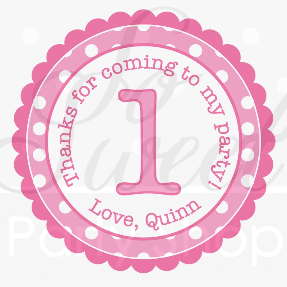 Girls 1st Birthday Party Favor Sticker Labels Thank You