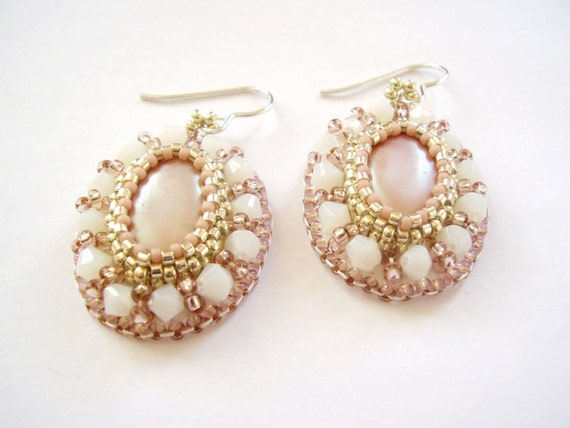 Bead embroidery earrings, beadwork oval pastel pink white handmade, gift for her